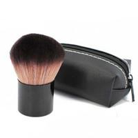 aluminum beauty cases - 1Pcs Makeup Brush Black Mini PU Leather Bag Case Aluminum Handle Fiber Bristles Brown Face Powder Blush Brushes Beauty comestic Tools