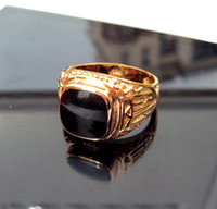 Wholesale NEW k real Gold stamp Mens women Signet Wedding Band Black onyx Ring Sizes to real gold not the real Gold not money
