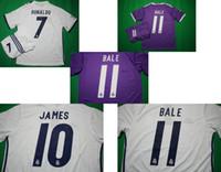 Wholesale Benwon Madrid home white soccer sets RONALDO away purple short sleeve football uniforms JAMES BALE BENZEMA MODRIC designer sports jerseys