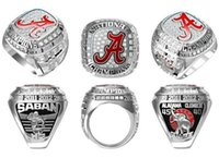 Wholesale Hot Alabama Crimson Tide National Championship Ring Enamal Crystal Gold Pleated Ring Men Jewelry