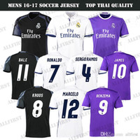 Wholesale 2017 Thai Quality Real Madrid Cheap Soccer Jerseys Men RONALDO JAMES BALE RAMOS ISCO MODRIC KROOS PEPE BENZEMA Home Away Soccer Jersey