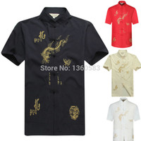 Wholesale New Traditional Chinese men s Kung fu shirt tops tang suit t shirt with Dragon Size S M L XL XXL XXXL M2056