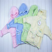 baby bath suit - Children s Pajamas Baby Boys Girls Bathrobe Kids Hooded Bath Towel Robes Infant Toddler Bathing Suits Bathrobes solid color soft robe new