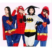 adult superman pajamas - 2016 New The Avengers Superman Cosplay Costume Batman Flannel Warm Pigiama Spiderman Adult Unisex Onesies Pajamas Sleepwear