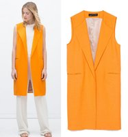 Wholesale Women Long Vest Jacket Fashion Open Stitch Slim Waistcoat Casual Outwear Sleeveless Cardigan Yellow Color p l