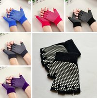 Wholesale 5 Color Women Antiskid Yoga Gloves Sports Gloves Fitness Exercise Training Gloves Half Finger Crossfit Health Care Gloves PPA279