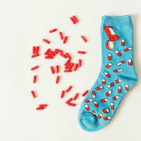 designer socks - New Caramella Men Women Cotton Crew Socks Funny Pill Pattern Novelty for couple Art Harajuku Hip Hop Skate designer brand