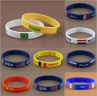 african countries flags - 1000pcs CCA4401 High Quality Vogue Silicone Bracelet Wristband Country Flag Band for Brazil Rio Olympic Games Charm Bracelets Waistband