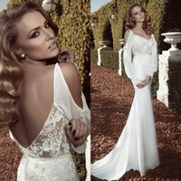 autumn dates - Sexy Boho Backless Bohemian Long Sleeve Wedding Dresses Date Scalloped Plunging Chiffon Mermaid Beaded Lace Beach Summer Wedding Dress