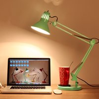 Wholesale 1 piece Retro wrought iron long arm folding desk lamp Students learn eye protection lamp Simple LED reading table lamp