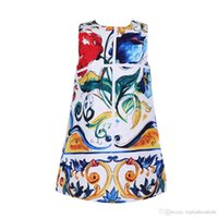 american floral design - mädchen kleid Summer Style Girl Dresses Brand Design Princess Dress Cute Children Clothing Majolica Print Kids Dress