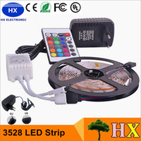 Wholesale DHL LED Strips M Set SMD led LED Strip Light Waterproof Keys IR Remote Controller Power supply Adapter White Red RGB