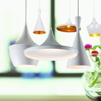 Wholesale 3pcs Modern Tom Dixon Beat White Light Pendant Lamp Ceiling Lighting Fixture chandelier droplight E27 bulbs