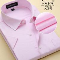 big men dress shirts - Big Size US XXXL XL XL XL New Summer Short Sleeve Twill Pure Color Business Dress Shirts Formal Work Shirts Men