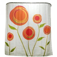 Wholesale 2016 New Fashion Orange Flower Family Bathroom Shower Curtain Simple Polyester Ring Pull