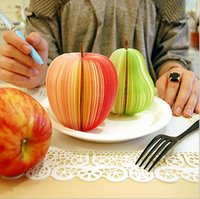 Wholesale PC Fruit Scrapbooking Note Memo Pads Portable Scratch Paper Notepads Post Sticky Apple Pear Shape OBN002