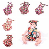 Wholesale 2016 New Summer headband Baby Girls Dresses Princess Children Suspenders baby romper Lace pants flower Pattern Kids Girl Dress Clothes