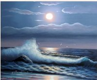 abstract waves - Night Moon Beach Ocean Surf Waves Rocks Seagullls Pure Hand Painted Seascape Art Oil Painting Canvas any customized size accepted John