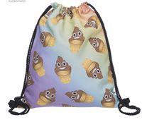 Wholesale Fashion Emoji Smiley Stuff Sacks D digital Printing Backpacker Drawstring Bags Christmas Gifts Drop shipping