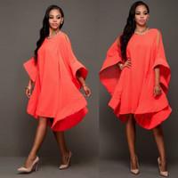 al por mayor vestidos largos de la manga del estilo del diseñador-Las mujeres de la moda otoño de 2016 nuevos del estilo de diseñador larga grande de la llamarada de la manga dobladillo grande vestidos flojos de gran tamaño Bohemia Ropa Casual