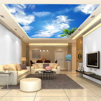applied adhesives - Custom D nonwoven zenith blue sky and white clouds apply wall stickers wallpaper the living room bedroom Restaurant Hotel Arcade shipping