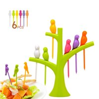 Wholesale Eco friendly Fashion Birds Tree Fruit Fork Tableware Dinnerware Sets Stand Forks