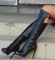 Wholesale New Coming Custom Made Peep Toe Thigh High Heels Women Platform Leather Shoes Buckle Sexy Lady Boots
