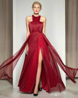 Wholesale The sexy side of new red wine red carpet irregular skirt dress can be tailored to the trailing celebrity opening exposed thigh dress