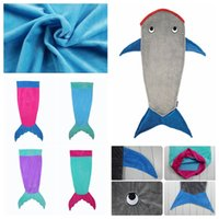 Wholesale Kids Mermaid Sleeping Bag Mermaid Tail Shark Sleep Sacks Mermaid Tail Fleece Blankets Wrap Costumes Bed Fish Snuggle in Shark Blankets D13