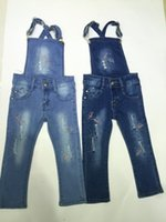 jeans lot - New Girls Jeans Overalls Ripped Jeans MOS T Baby Group Elastic Jeans Ripped And Hot Drilling Girl Jeans