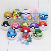 Wholesale 13pcs set pikachu pokeball toy set poke ball figure pvc anime action figure good collection toy set cm approx