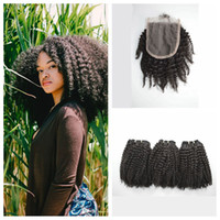 afro hair dye - Brazilian Afro Kinky Curly Hair Bundles With Lace Closure x4 Free Middle Three Part Human Hair Can Be Dyed