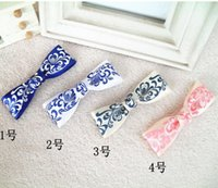 Wholesale 300pcs simple and elegant Satin Ribbon Blue and white porcelain China hairpin Wind Printed Ribbon Clip