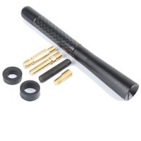 Wholesale New Black Universal Aluminum Carbon Fiber Car AM FM Radio Aerial Antenna With Screws