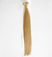 Cheap 100% Flat Tip Capsule Human Hair 1G Strand Natural Keratin Human Hair Extension Medium Blonde Color 16 Natural Human Hair