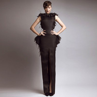 Wholesale New Glamorous Brown Bateau Keyhole Back Slit Peplum Feather Evening Dresses Evening Gowns