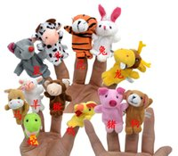 Wholesale Mini Animal Finger Baby Plush Toy Finger Puppets Talking Props Animal Group Stuffed Plus Animals Stuffed Animals Toys Gifts