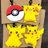 Wholesale Cartoon Poke Go Lage Tags Cartoon Pikachu Checked Travel Silicone Lage Tags Pokeball Figures Suitcase Checked Tag Poke Ball Tags