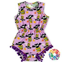baby romper pattern free - DHL free Newest Purple Color Bat Pattern Baby Girls Halloween Pom Pom Rompers Kids Hallowmas Clothing Baby Clothes Romper
