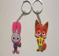 Wholesale 6cm hot wild animal City zootopia rabbit Zhu Ditu and Nikfo fox key chains key rings Rubber accessories creative cartoon PVC soft Keychain