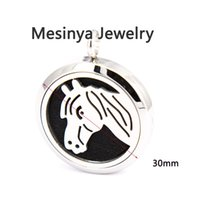 Wholesale 10pcs mesinya horse mm Aromatherapy Essential Oils surgical Stainless Steel Perfume Diffuser Locket Necklace
