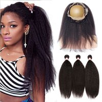 band extensions - Mongolian A Kinky Straight Hair Bundles With Ear To Ear Lace Band Frontal Coarse Yaki Around Lace Frontal With Hair Extensions