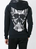 Wholesale New arrive Tide brand Hip Hop Mens Hoodie Sporty Style Printing Skulls Men Casual Hoodie Jacket P6152 M XXL