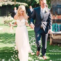 Wholesale Hot Sale New Arrival dress wedding dresses strapless vestidos de novia Chiffon Beach Bridal Gowns