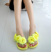 Wholesale 2016 New Summer Hot Women Sandals With Beautiful Camellia Flower Sweet Flip Flops color shoes code