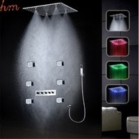 auto body design - New design inch rainfall misty funtion hydro power led shower head set with body jets