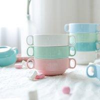 Wholesale Modern housewife candy color series Zhongke folding handle baking bowl ears soup dessert bowl steamed egg cup ears bowl
