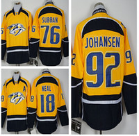 anti drop - 2016 Free Drop Shipping P K Subban JOHANSEN NEAL New Arrivals Men Nashville Predators Yellow Ice Hockey NHL Stitched Jerseys