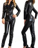 Wholesale Sexy Red Latex Bodysuit - LAFIZZLE Plus Size Pvc Black Woman Latex Bodysuit Crotchless Catsuit Jumpsuit Faux Leather Gothic Punk Xmas Gift Costume S - 2XL