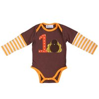 turkey - Baby Boys Girls Thanksgiving Turkey st Turkey Brown Orange Long Sleeves Romper M